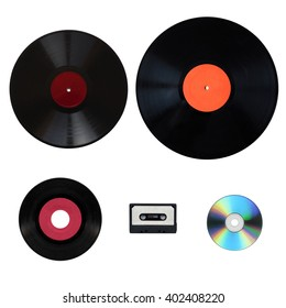 Size comparison of many analogue and digital recording media for music. Left to right, top bottom: shellac record 78 rpm, vinyl record 33 rpm and 45 rpm, compact cassette, compact disc