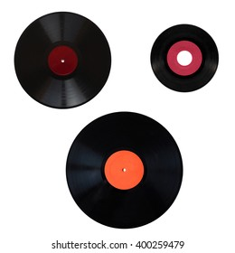 Size comparison of many analogue recording media for music. Left to right, top to bottom: shellac record 78 rpm, vinyl record 33 rpm and 45 rpm