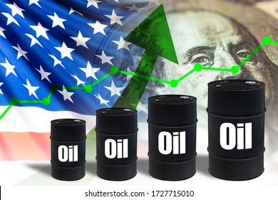 Size of oil barrels is increasing. Ladder from black barrels. Concept increase US oil prices. The rise in hydrocarbon prices due to the decision of the United States. USO index gradually increasing
