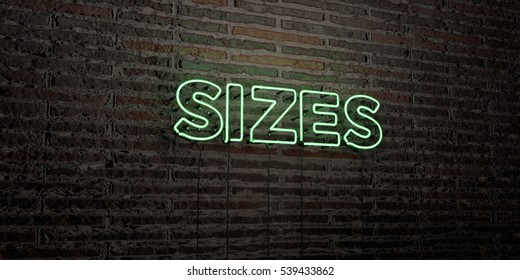SIZES -Realistic Neon Sign on Brick Wall background - 3D rendered royalty free stock image. Can be used for online banner ads and direct mailers.