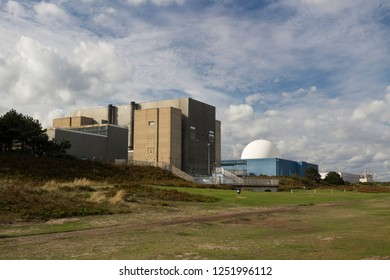 Sizewell, Suffolk / England - 09/14/2018: Sizewell A and Sizewell B Nuclear Power Station