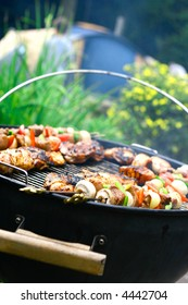 Sizzling chicken and lamb kebabs with vegetables on hot barbecue.