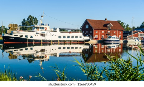 Sjotorp, Sweden – July 4, 2018: The passenger ship Bellevue moored at her home harbor on an ordinary summer morning along the Gota canal.