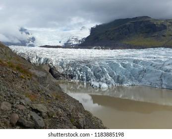 Skaftafell, Iceland / Iceland - August 2018: Melting glacier in Skaftafell