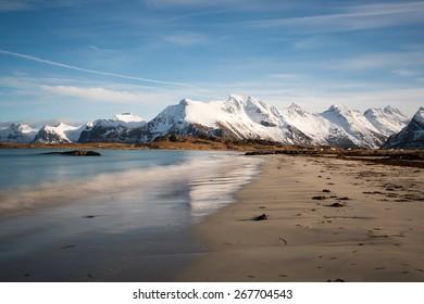 Skagsanden beach in winter, long exposure, Lofoten, Norway