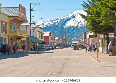 SKAGWAY, AK - JUNE 2: Main shopping district in the small town of Skagway on June 2, 2009.  During the summer months, Skagway receives more than 800,000 visitors from cruise ships.