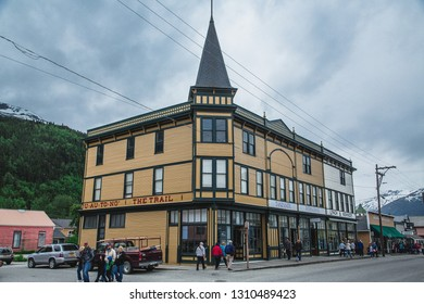 SKAGWAY, ALASKA - June 1, 2016: Skagway is a borough in Alaska with a full time population of about 1,000 people. During the summer, cruise ships bring in more than 900,000 visitors.