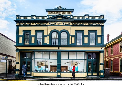 SKAGWAY, ALASKA - SEPTEMBER 10, 2016: The Railroad Building is one of many historic storefronts in a town attracting hundreds of gold prospectors arriving every day by steamer from Seattle.