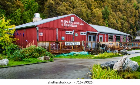 SKAGWAY, ALASKA - SEPTEMBER 10, 2016: The colorful restaurant serves fresh fish to cruise ship passengers visiting this historic town that attracted gold prospectors during the Klondike Gold Rush.