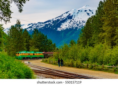 Skagway, Alaska, September 13, 2016: This historic railroad system makes daily scenic excursions over rugged terrain overlooking mountains, gorges, glaciers, waterfalls, forests, trestles and tunnels.