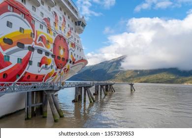 Skagway, Alaska - September 28 2017: Norwegian (NCL) Sun Cruise Ship docked in the Port of Skagway, Alaska