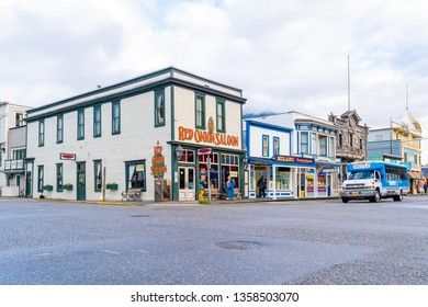 Skagway, Alaska - September 28 2017: Red Onion Saloon, a bar and brothel museum, popular place for cruise ship passengers and other tourists in the city of Skagway, Alaska.