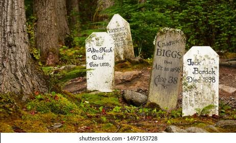 Skagway, Alaska - USA - August 14th 2019 - Gold Rush graveyard. Old abandoned cemetery in Alaska. 19th century.