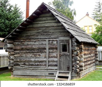 Skagway, Alaska, USA - July 3, 2013: Captain William Moore Homestead, a rustic country log cabin built in 1887 by Skagway's founder before the Klondike Gold Rush