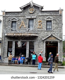 Skagway, Alaska, USA - July 3, 2013: Historic Camp Skagway No. 1 of the Arctic Brotherhood built in 1899 from driftwood for Klondike Gold Rush speculators. President Harding once visited here.