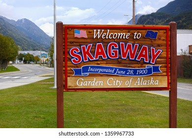 Skagway, Alaska, USA - September, 25,2018: Welcome to Skagway sign, welcoming people which are entering this city in Alaska, USA
