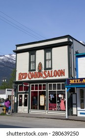 SKAGWAY, ALASKA,USA-MAY 16: The Red Onion Saloon is open to cruise ship tourists on May 16, 2015. This historic saloon opened in 1898 as a bar and brothel catering to gold rush miners.