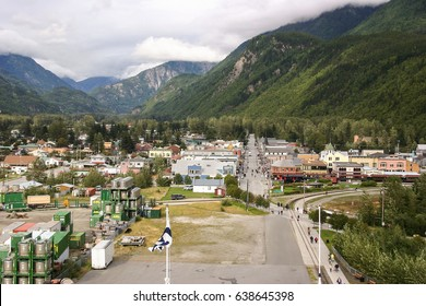 SKAGWAY, USA-AUG. 26, 2012: The historical gold-mining town of Skagway, Alaska today is a major cruise port where hundreds of tourists move from the port into the tiny but picturesque town.