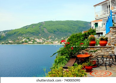 Skaithos, Greece, September 09, 2017. A view towards Megali Ammos beach from the balcony of an apartment in the Plakes at Skiathos town on the Island of Skiathos in Greece.