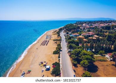Skala Beach view from above, Cephalonia, Greece. Skala famous beach in Kefalonia island, Greece. Beeautiful Skala beach, Kefalonia island, Ionian sea, Greece.  - Shutterstock ID 1811021737