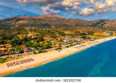 Skala Beach view from above, Cephalonia, Greece. Skala famous beach in Kefalonia island, Greece. Beeautiful Skala beach, Kefalonia island, Ionian sea, Greece.  - Shutterstock ID 1811021740