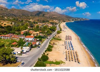 Skala Beach view from above, Cephalonia, Greece. Skala famous beach in Kefalonia island, Greece. Beeautiful Skala beach, Kefalonia island, Ionian sea, Greece.  - Shutterstock ID 1811023588