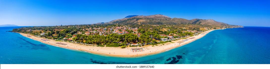Skala Beach view from above, Cephalonia, Greece. Skala famous beach in Kefalonia island, Greece. Beeautiful Skala beach, Kefalonia island, Ionian sea, Greece.  - Shutterstock ID 1889157640