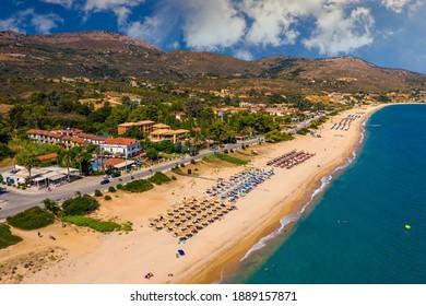 Skala Beach view from above, Cephalonia, Greece. Skala famous beach in Kefalonia island, Greece. Beeautiful Skala beach, Kefalonia island, Ionian sea, Greece.