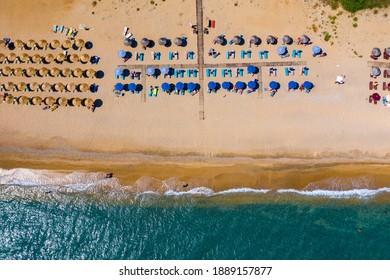 Skala Beach view from above, Cephalonia, Greece. Skala famous beach in Kefalonia island, Greece. Beeautiful Skala beach, Kefalonia island, Ionian sea, Greece.  - Shutterstock ID 1889157877