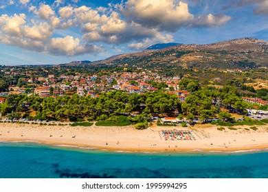 Skala Beach view from above, Cephalonia, Greece. Skala famous beach in Kefalonia island, Greece. Beeautiful Skala beach, Kefalonia island, Ionian sea, Greece.  - Shutterstock ID 1995994295