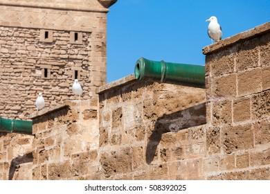 Skala du Port fortifications in Essaouira, Morocco. Essaouira is a city in the western Moroccan region on the Atlantic coast.