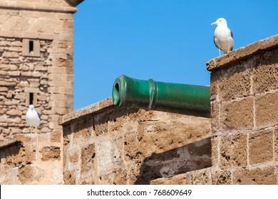 Skala du Port fortifications in Essaouira in Morocco. Essaouira is a city in the western Moroccan region on the Atlantic coast.