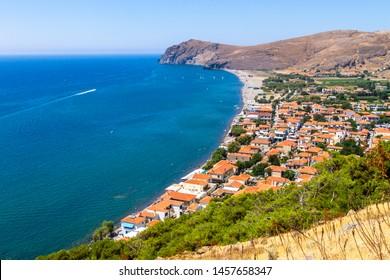 Skala Eressou, panoramic view of this popular touristic destination in Lesvos island, Aegean sea, Greece.  - Shutterstock ID 1457658347