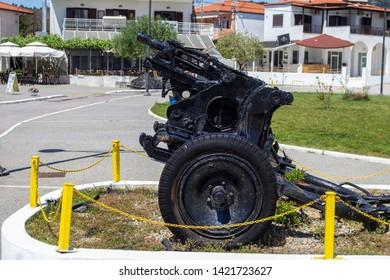 Skala Fourkas, Halkidiki,Greece,15th May 2019. An old artillery gun, displayed  in the town  Skala Fourkas, Halkidiki,