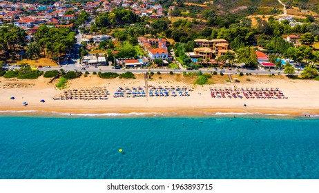 Skala, one of the top beach locations on the Greek island of Kefalonia. Spectacular view over beach of Skala. Skala beach with soft sand and turquoise water in Kefalonia, Greece.