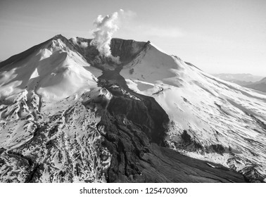 SKAMANIA COUNTY, WASHINGTON, USA - 1982: Mount St. Helens and steam plume from lava dome in crater, after major eruption of May 1980.