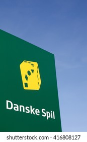 Skanderborg, Denmark - May 5, 2016: Danish game called in danish danske spil logo on a panel. Danske Spil is the national lottery in Denmark, founded in 1948.