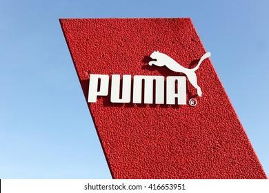 Skanderborg, Denmark - May 6, 2016: Puma logo. Puma is a major german multinational company that produces athletic, casual footwear, sportswear, headquartered in Germany