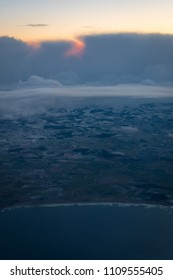 Skandinavian coast in winter from airplane