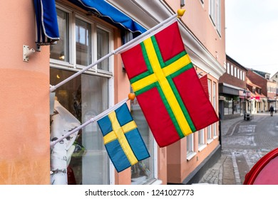 Skane and Swedish flag from the Swedish town of Ystad, Skane County.