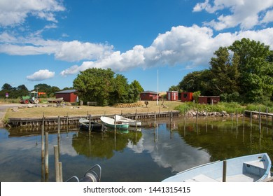 Skaninge bro harbor on island of Bogo in Denmark on a sunny summer day