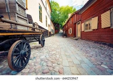 Skansen open-air museum and zoo in Sweden located on the island den in Stockholm. Old swedish traditional village. Scandinavia, Europe.