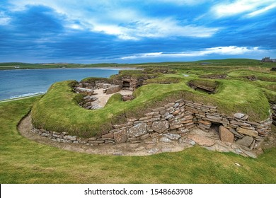 Skara Brae, a stone-built Neolithic settlement on the Bay of Skaill on the Mainland, the largest island in the Orkney archipelago of Scotland.