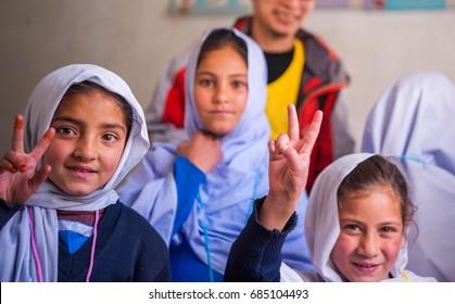 SKARDU, PAKISTAN - APRIL 17:  unidentified Children in a village in the south of Skardu are learning in the classroom of the village school April 17, 2015 in Skardu, Pakistan.