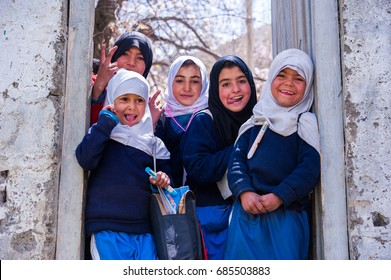 SKARDU, PAKISTAN - APRIL 17: An unidentified Children in a village in the south of Skardu are learning in the village school April 17, 2015 in Skardu, Pakistan.