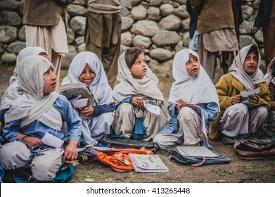 SKARDU, PAKISTAN - APRIL 18: An unidentified Children in a village in the south of Skardu are learning in the classroom of the village school April 18, 2015 in Skardu, Pakistan.