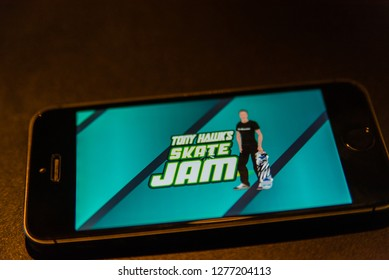 'skate jam game' the new Tony Hawk mobile skateboard game. For IOS and android.  Zeewolde - Flevoland - Netherlands - 7 jan 2019