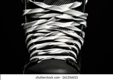 Skate laces close up