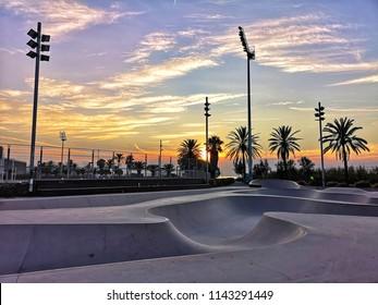 Skate park in Barcelona, Spain at sunrise.
