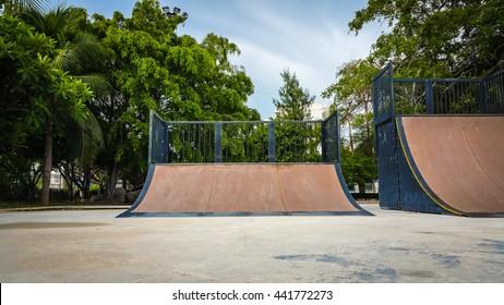 Skate Park in the daytime. Customizable dark tones .